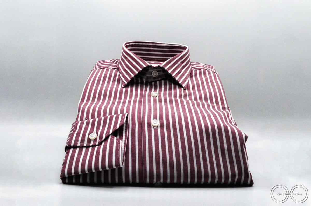 Camicia uomo bordeaux righe bianche Detroit collo italiano tessuto popeline cotone
