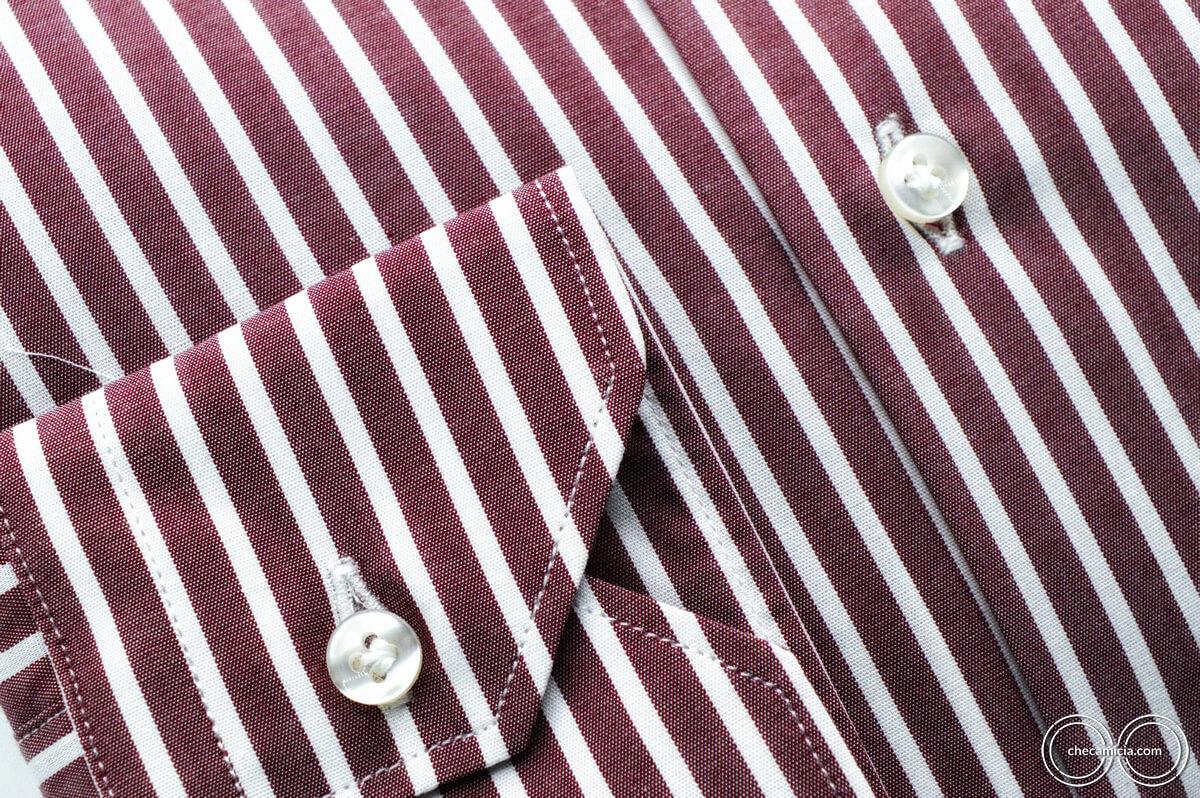 Camicie bordeaux uomo con righe bianche Detroit collo italiano tessuto popeline cotone2