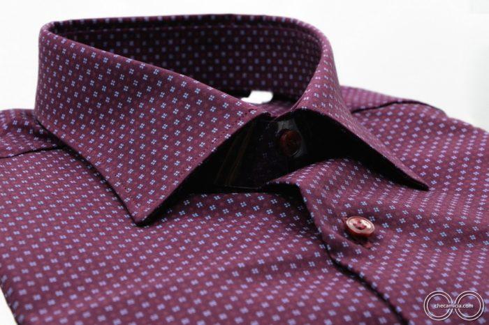 Camicie microfantasia bordeaux Metz colletto italiano tessuto popeline