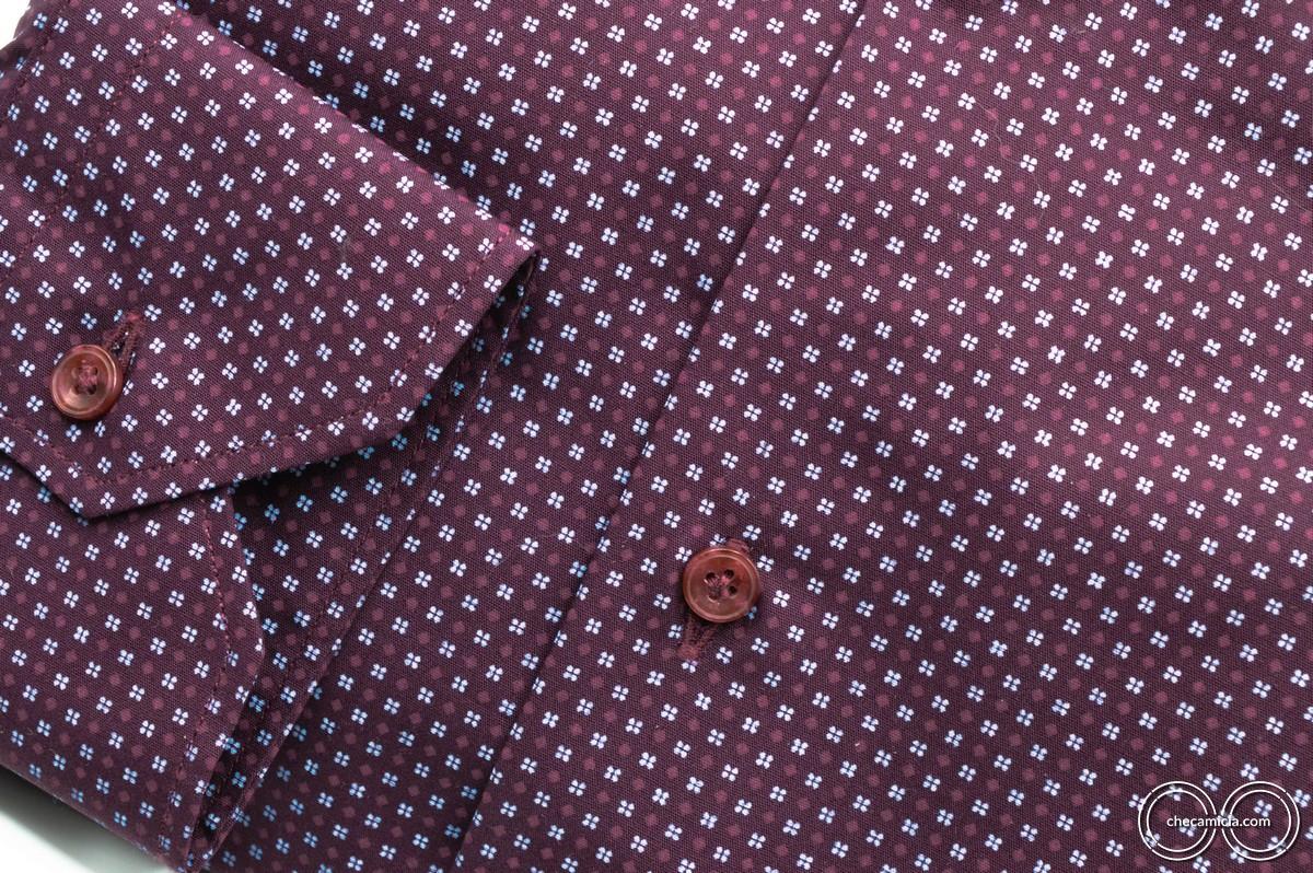 Camicie microfantasia bordeaux Metz collo italiano tessuto popeline
