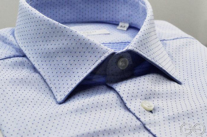 Camicie online uomo a pois nantes tessuto operato di cotone collo italiano