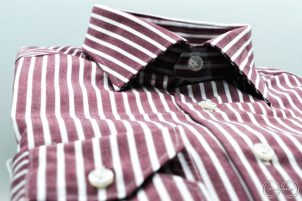Camicieria online camicia a righe uomo bourdeux e bianco Detroit colletto italiano tessuto cotone popeline