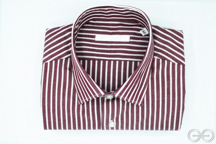 Colletto camicia italiano tessuto popeline camicie a righe bordeaux uomo Detroit