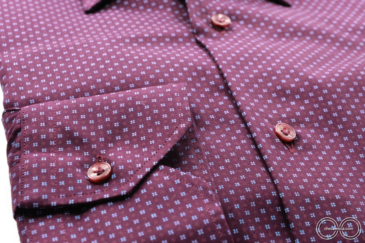Metz camicia microfantasia bordeaux collo italiano tessuto popeline