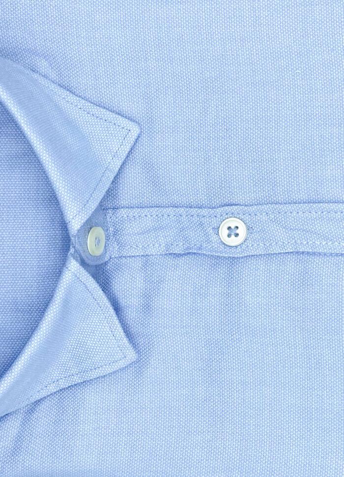 Tessuto operato cotone camicia celeste Dakar collo button down