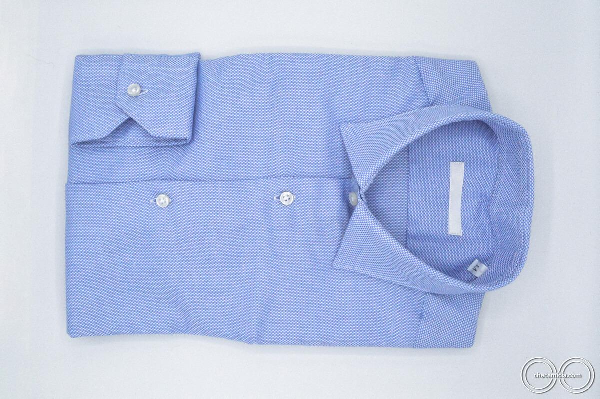 Tessuto operato cotone collo italiano camicia celeste uomo Dakar