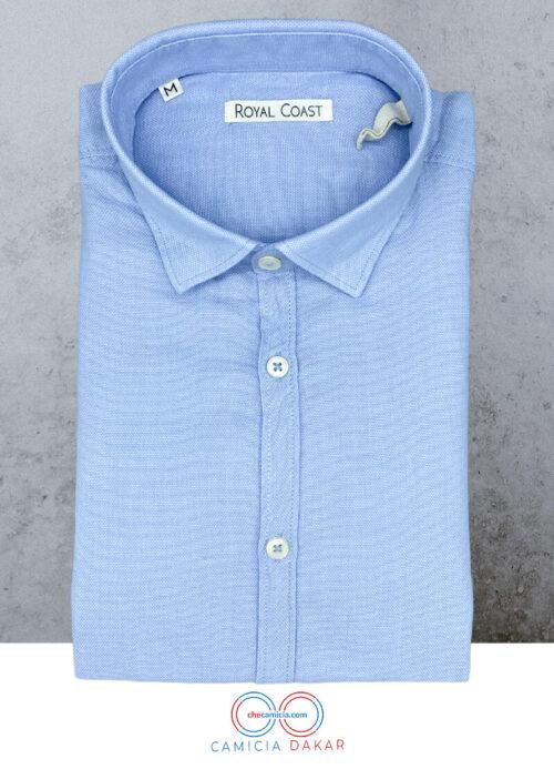 Tessuto operato di cotone camicia celeste Dakar button down