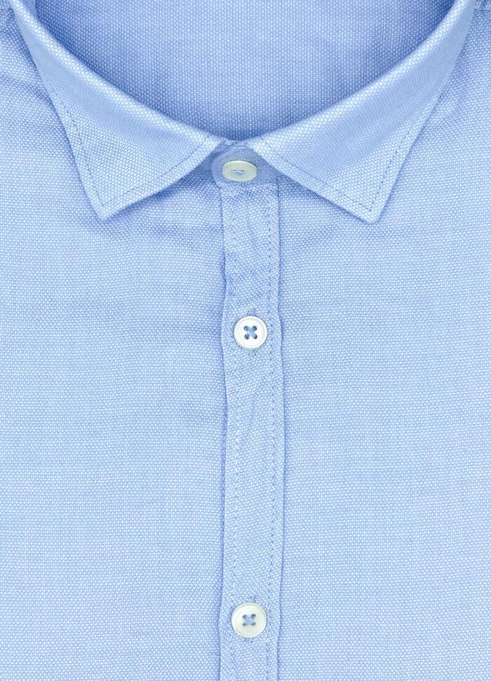 Tessuto operato di cotone camicia celeste Dakar collo button down