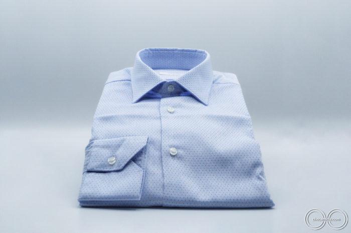 Tessuto operato di cotone collo italiano camicia di qualita a pois nantes