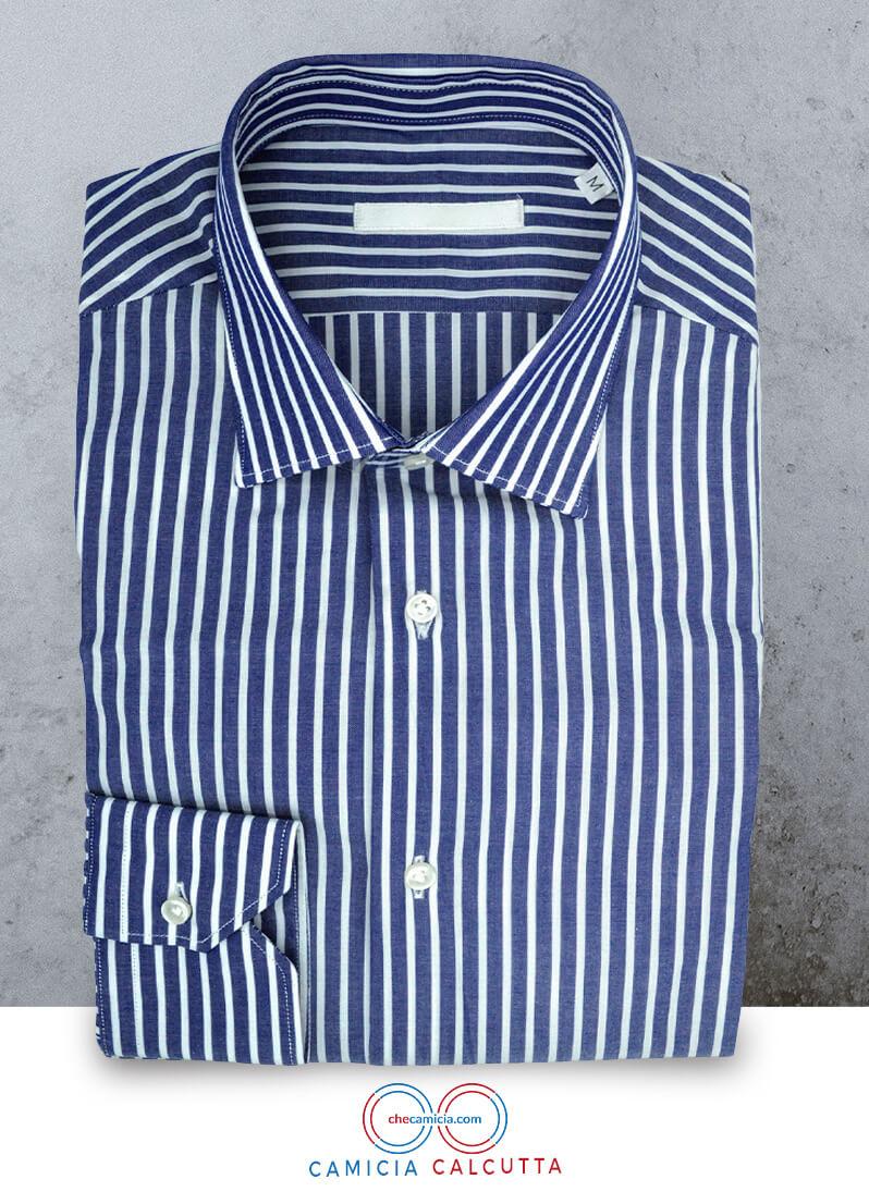 Camicia a righe bianca e blu Calcutta collo italiano