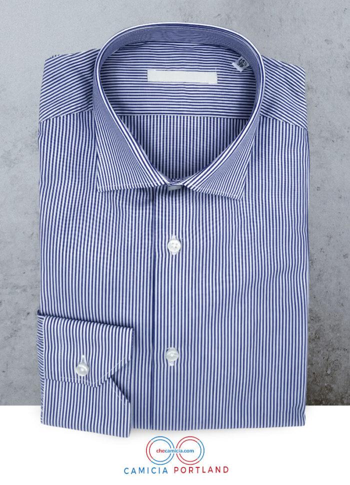 Camicia a righe bianca e blu Portland collo italiano