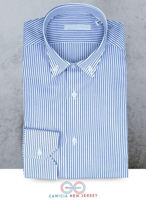 Camicia a righe bianca e blu collo button down New Jersey