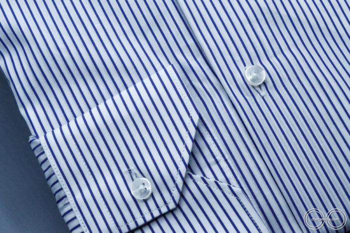 Camicia a righe bianche blu uomo new jersey colletto button down