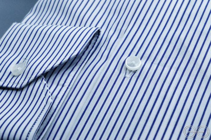 Camicia a righe bianche blu uomo new jersey collo button down