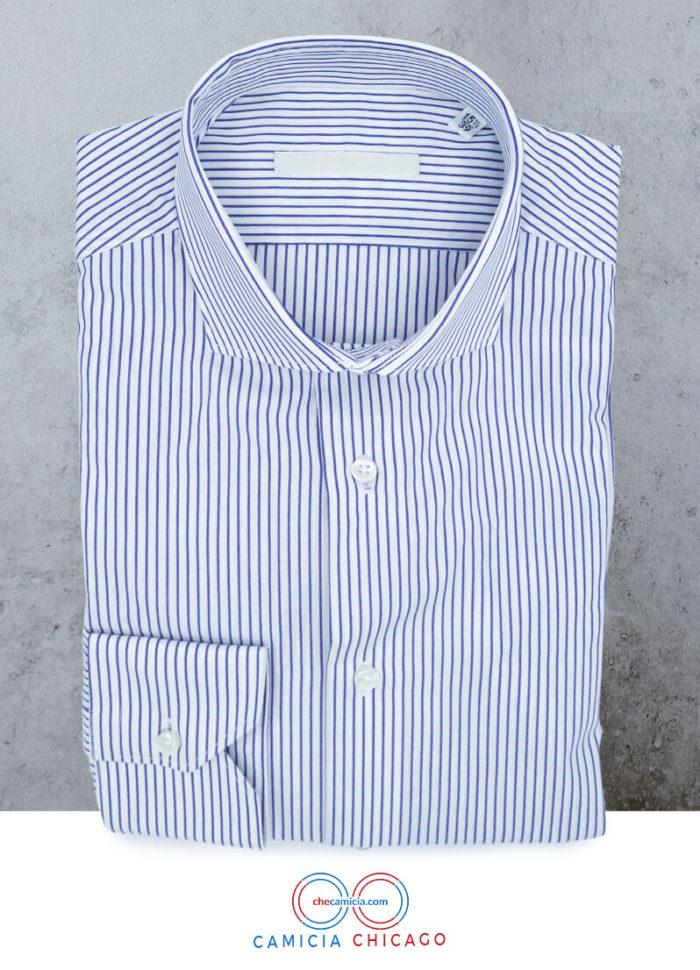 Camicia a righe bianche e blu Chicago collo francese
