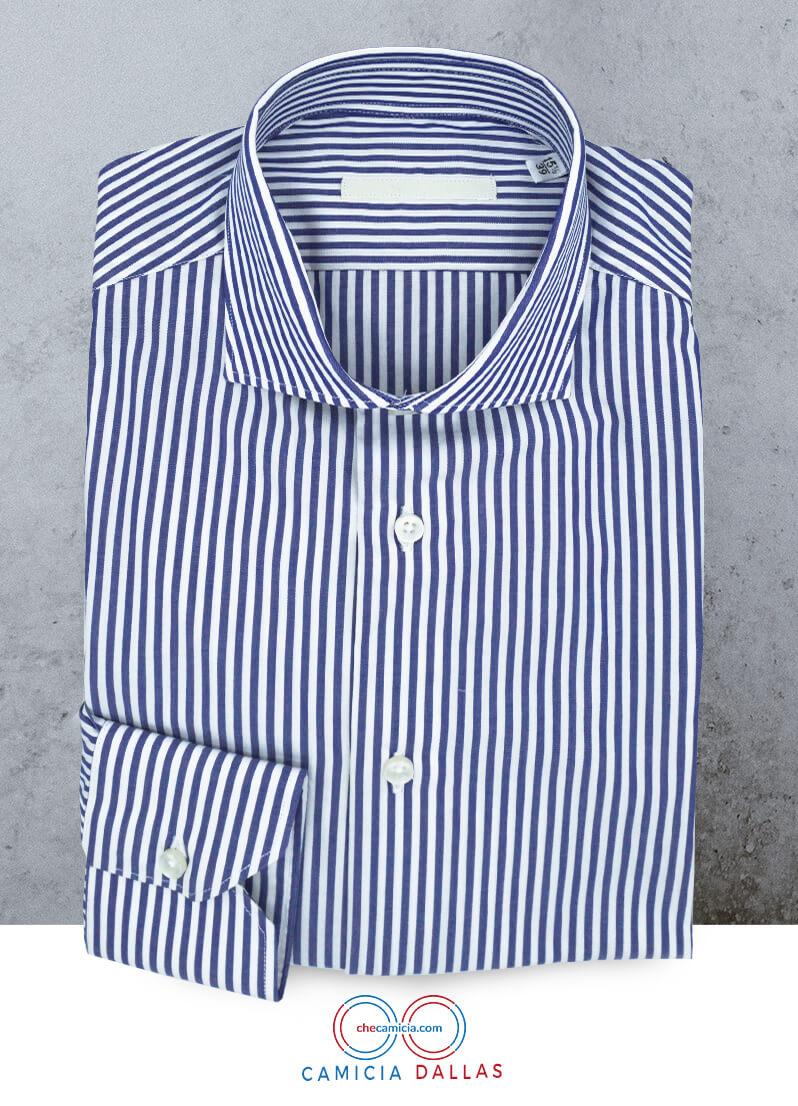 Camicia bianca a righe blu Dallas collo francese