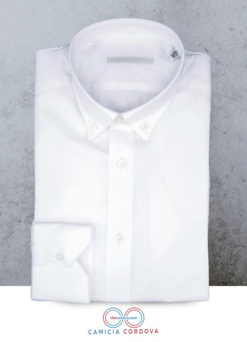 Camicia bianca uomo Cordova colletto button down tessuto in cotone