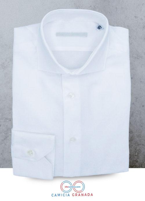 Camicia bianca uomo Granada tessuto operato 100% cotone