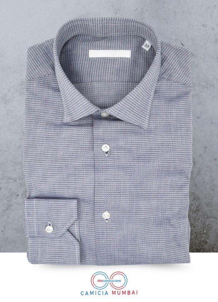 Camicia blu-ice Mumbai tessuto operato di cotone collo italiano