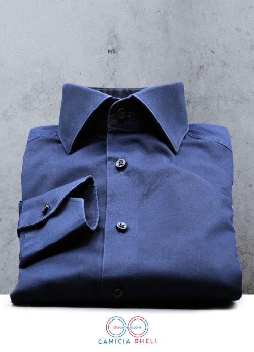 Camicia blu uomo Dheli tessuto popeline stretch collo francese