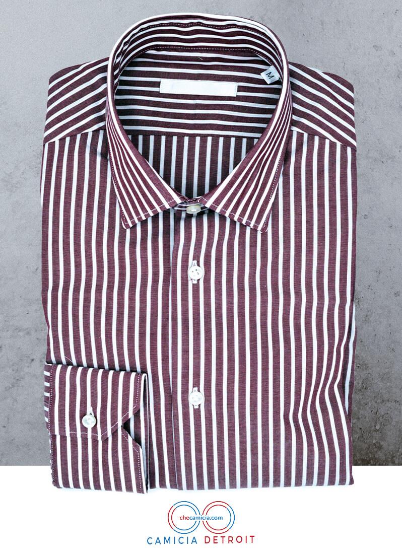 Camicia bordeaux uomo a righe bianche Detroit collo italiano