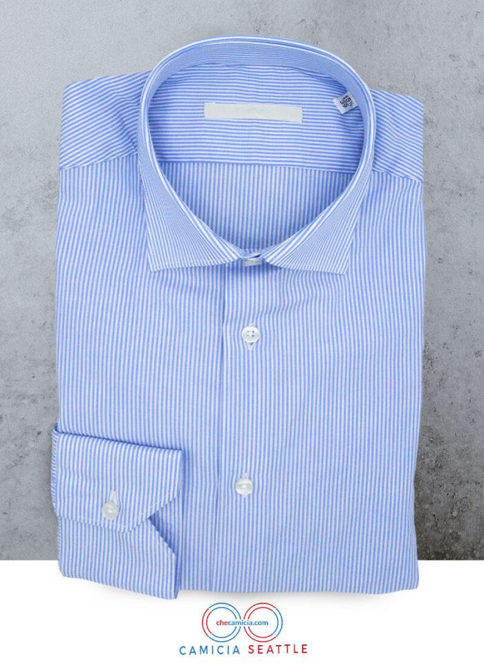 Camicia celeste a righe bianche Seattle colletto italiano