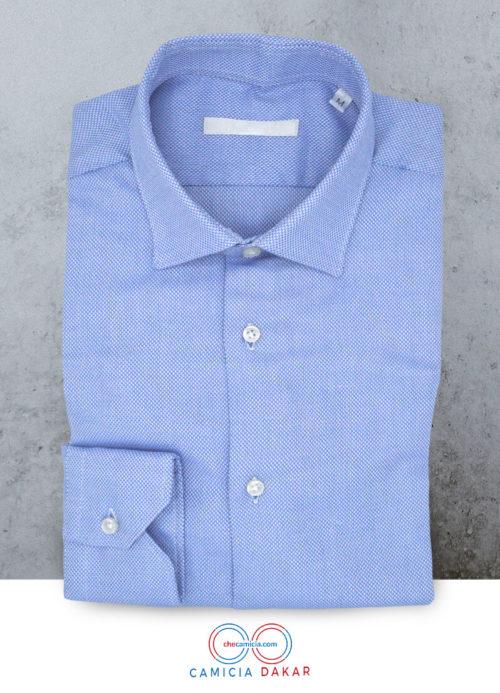 Camicia celeste uomo Dakar tessuto operato collo italiano