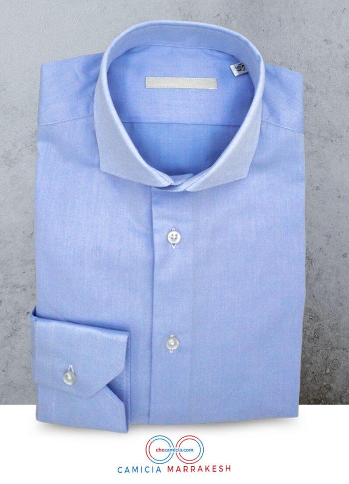 Camicia celeste uomo Marrakech tessuto twill 100% cotone