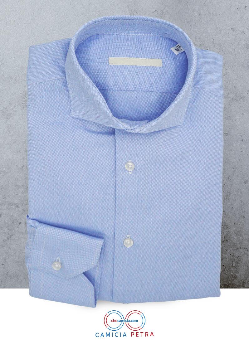 Camicia celeste uomo Petra tessuto domingo 100% cotone