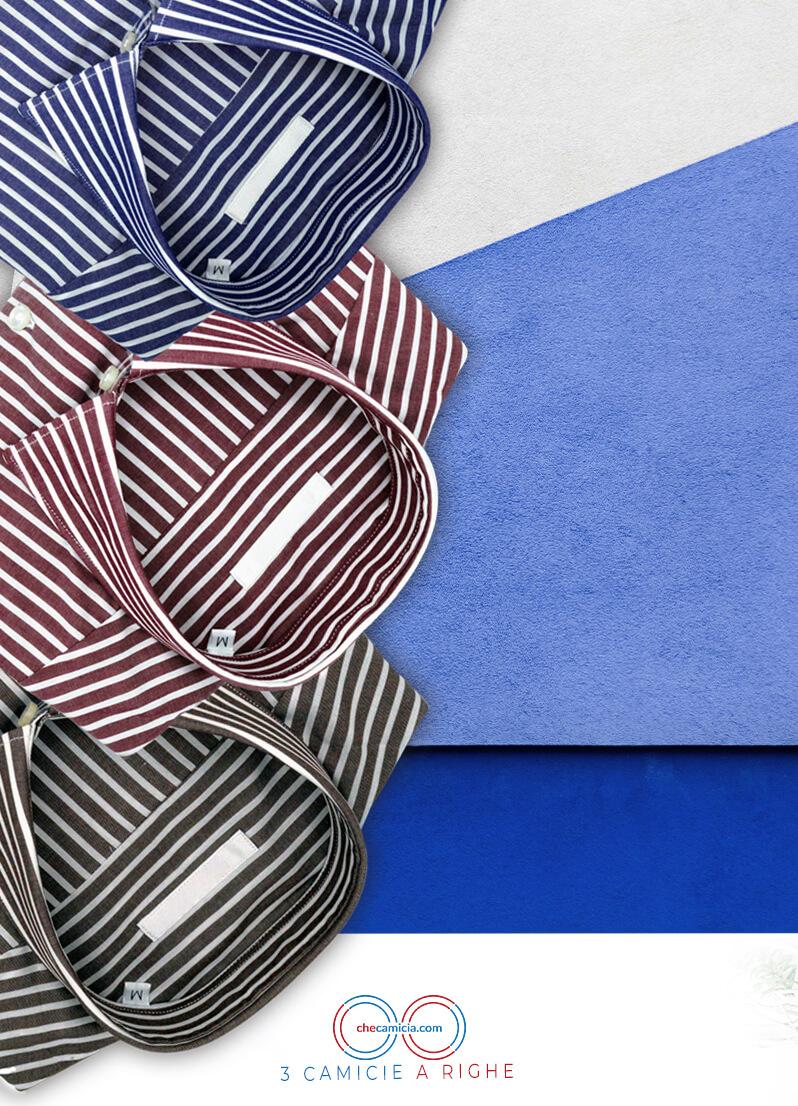 Camicie a righe da uomo 100% cotone camicia online camiceria italiana