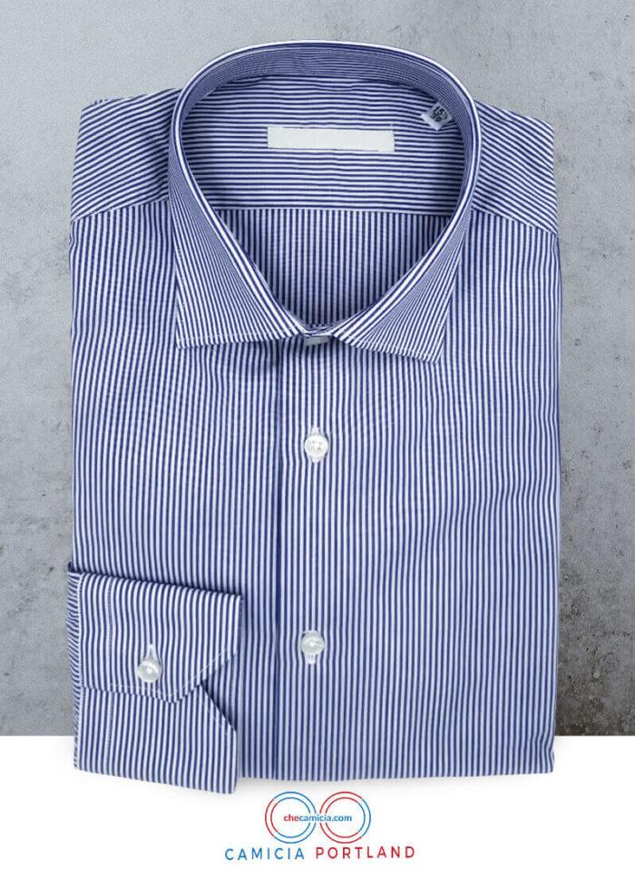 Camicia personalizzata a righe blu Portland collo italiano