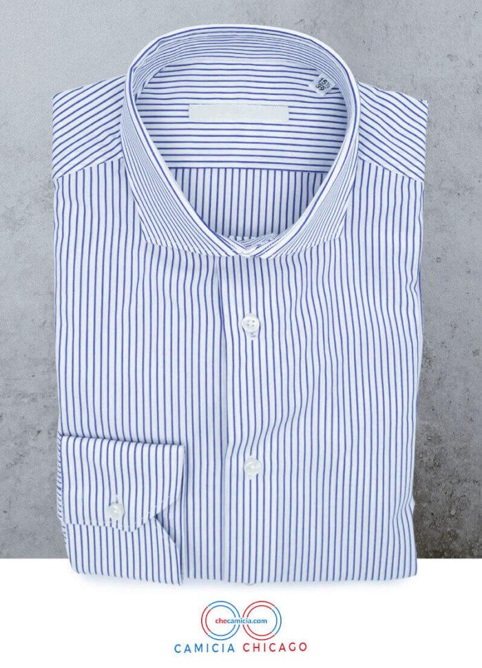 Camicie a righe bianche e blu Chicago collo francese