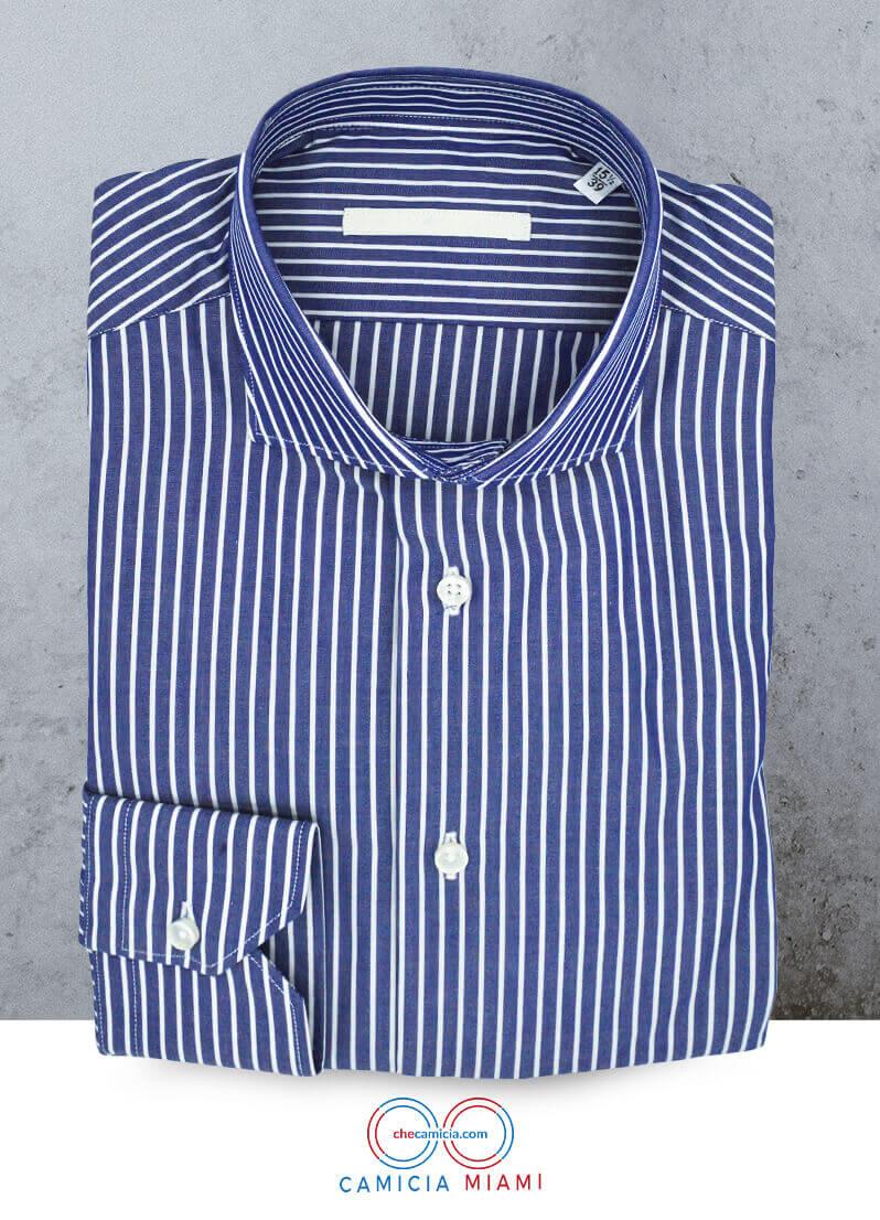 Camicie blu a righe bianche Miami tessuto popeline collo francese