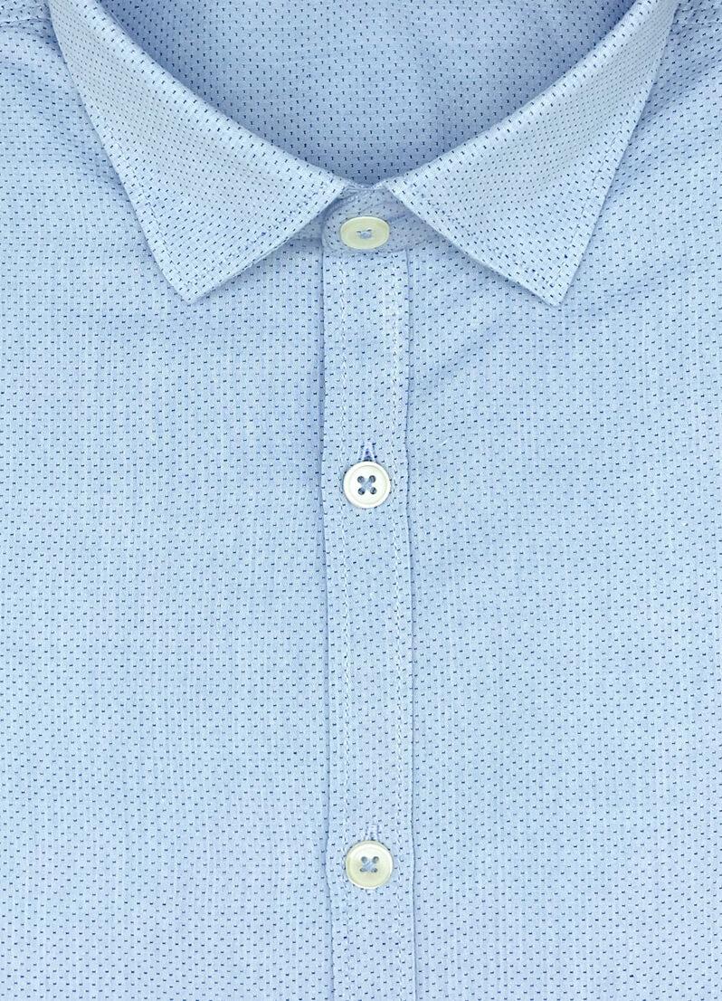Camicia azzurra a poi blu Atlanta operato cotone