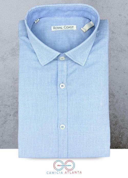 Camicia azzurra a poi blu Atlanta operato di cotone