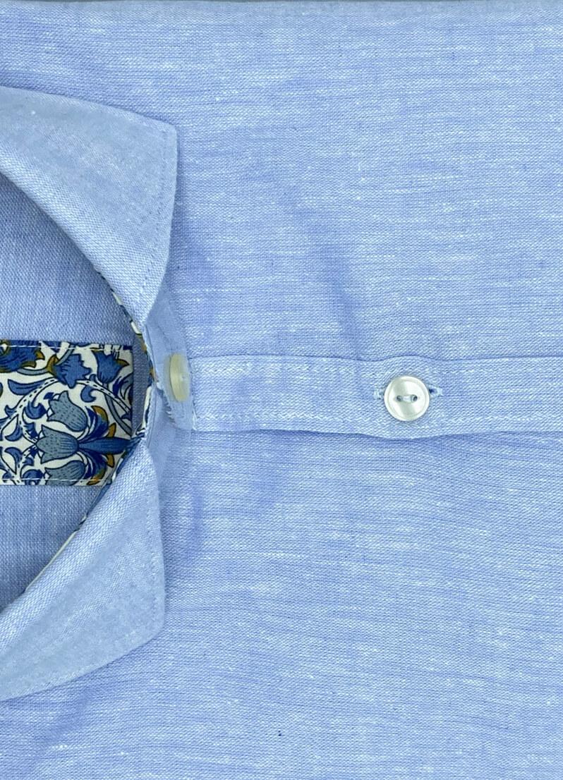 Camicia celeste di lino uomo Hilo