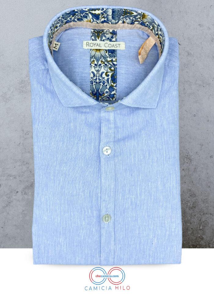 Camicia celeste uomo di lino Hilo