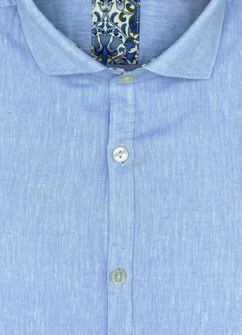 Camicia celeste uomo in lino Hilo