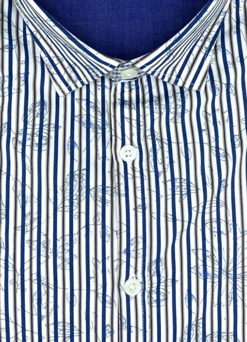 Camicia fantasia floreale uomo arles in 100 cotone collo semi francese