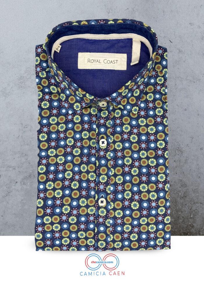 Camicia fantasia uomo caen 100 cotone collo button down