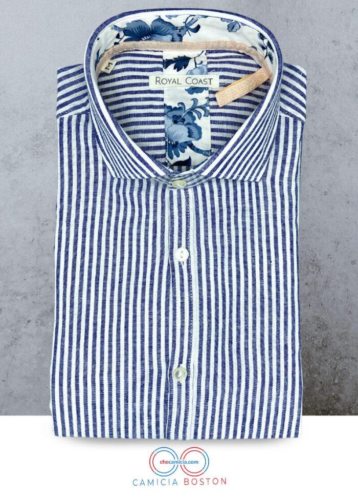 Camicia lino bianca a righe blu Boston camicia di qualita