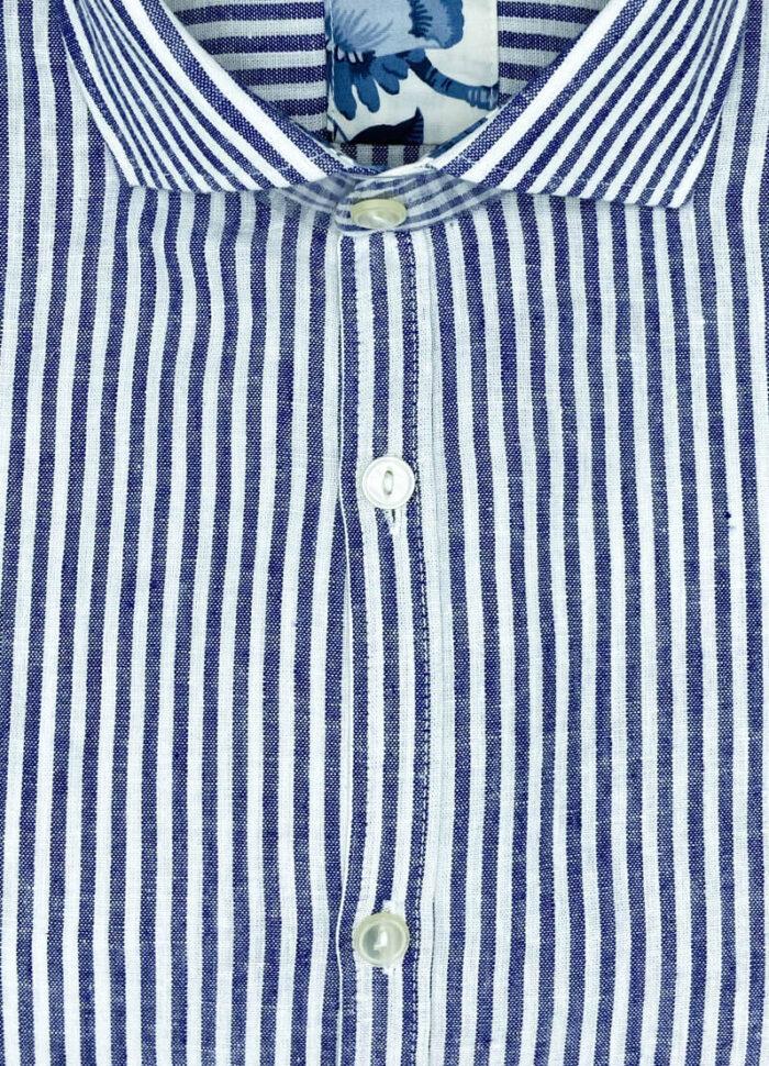 Camicia lino bianca righe blu Boston camicia di qualita