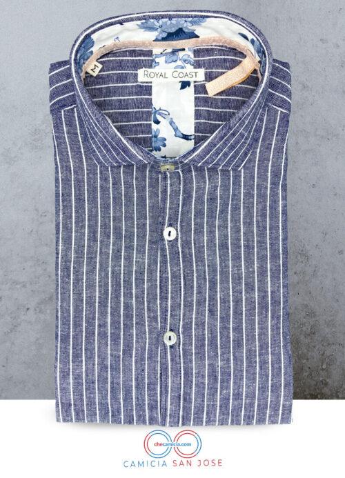 Camicia lino blu uomo San Jose camicie di lino