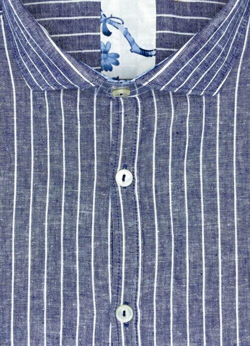 Camicia lino blu uomo San Jose camicie di lino e cotone