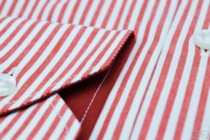 Camicia rossa uomo a righe bianche Orlando cotone collo francese