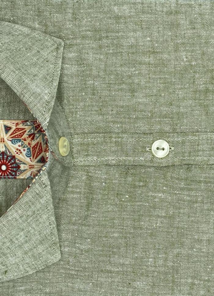 Camicia verde uomo di cotone e lino Santa Fe