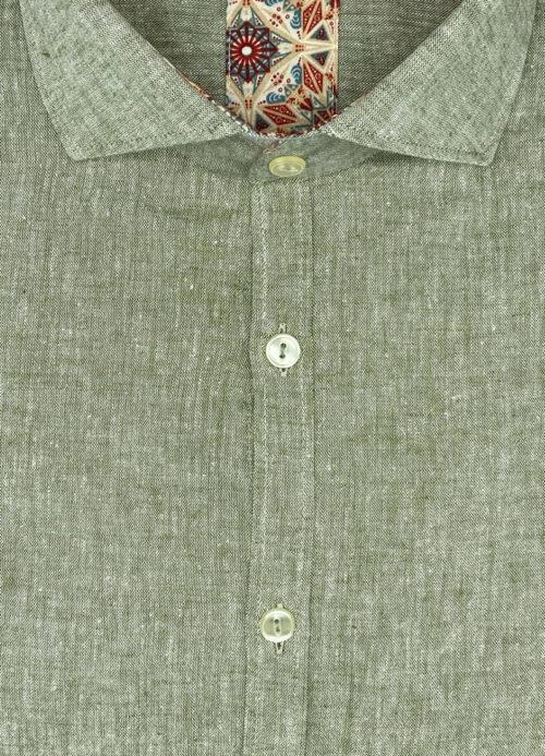 Camicia verde uomo di lino Santa Fe misto cotone