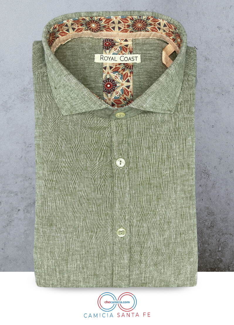 Camicia verde uomo in lino Santa Fe misto cotone