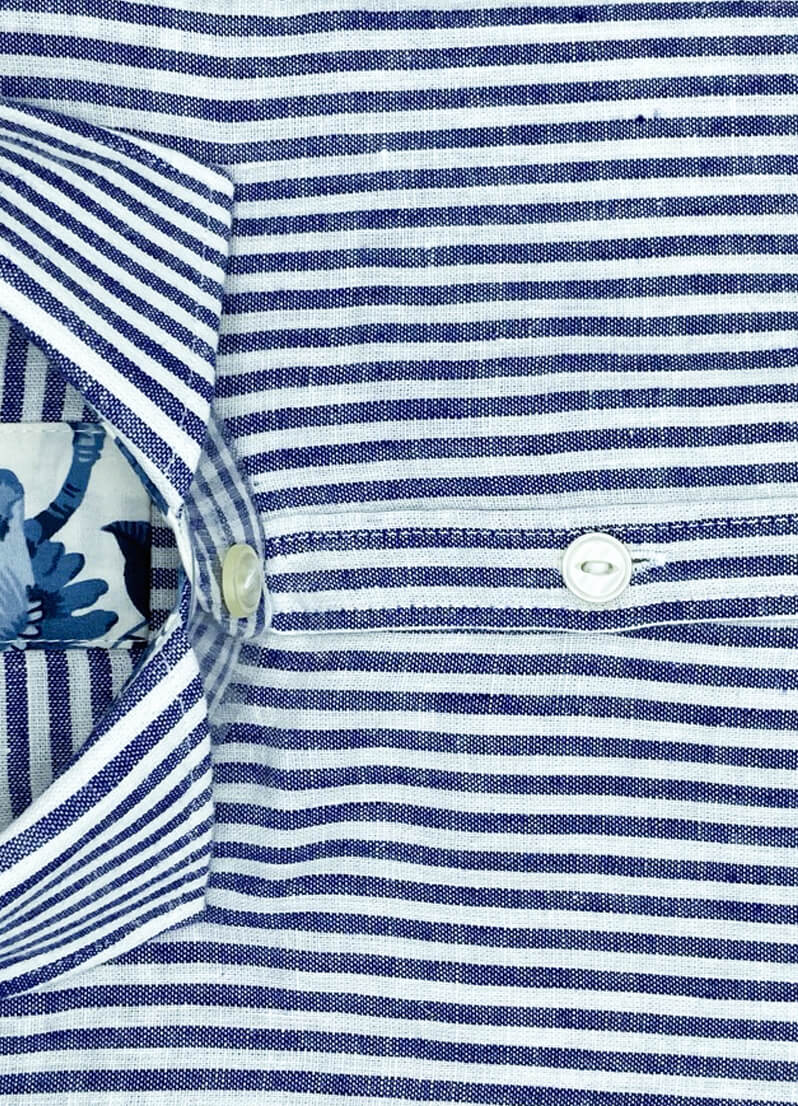 Camicie lino bianca a righe blu Boston camicia di qualita