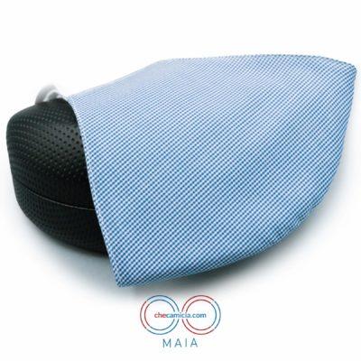 Mascherine in tessuto lavabili celesti 100 cotone checamicia - Maia